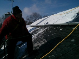 Jack Ailey installing solar in Oak Park - cold!