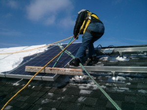 Vianey installing solar in Oak Park, winter 2013